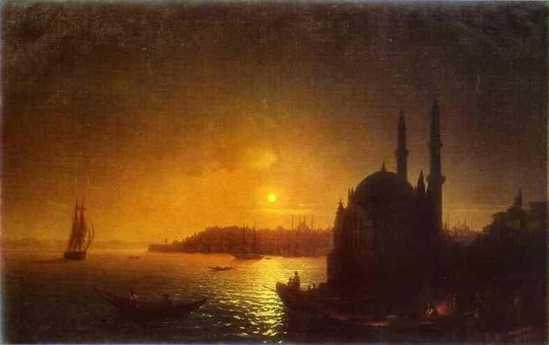 Ivan Aivazovsky. View of Constantinople by Moonlight.