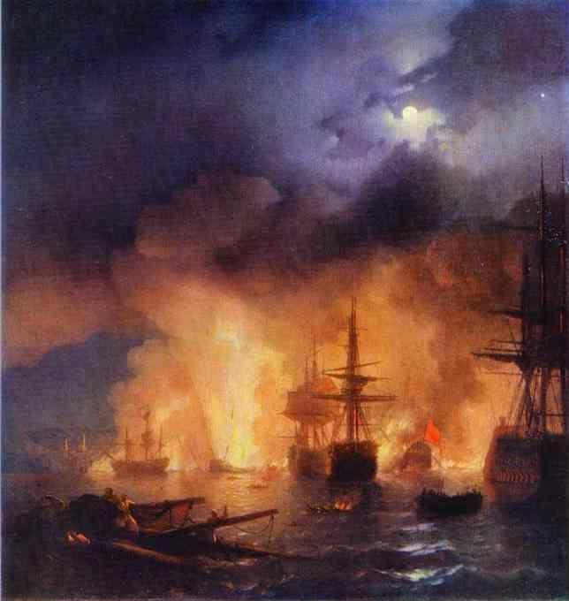 Ivan Aivazovsky. The Battle of Chesme.