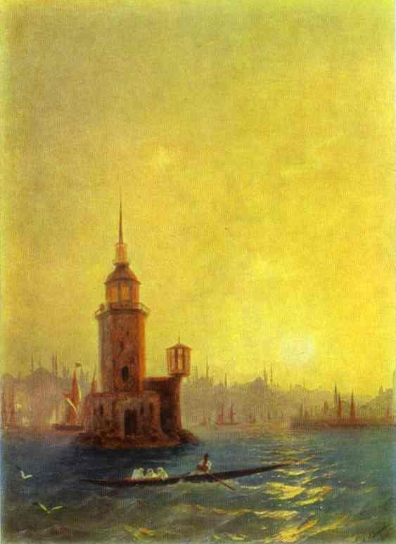 Ivan Aivazovsky. View of the Leander Tower in Constantinople.