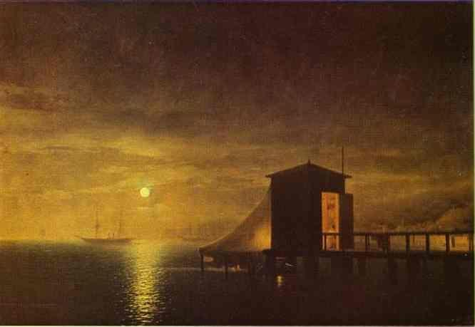 Ivan Aivazovsky. Moonlit Night. A Bathing Hut in Feodosia.