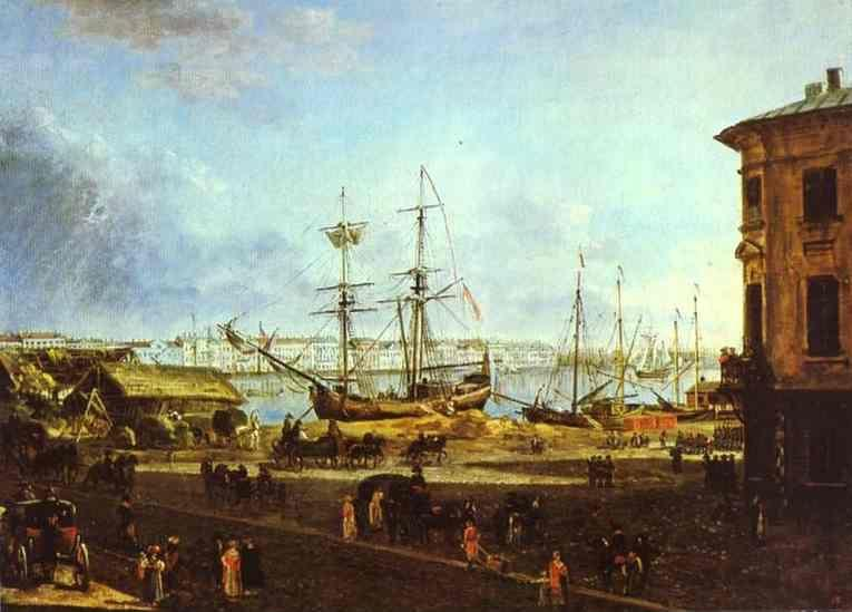 Fedor Alekseev. View of the English Embankment from Vasilievsky Island in St. Petersburg.