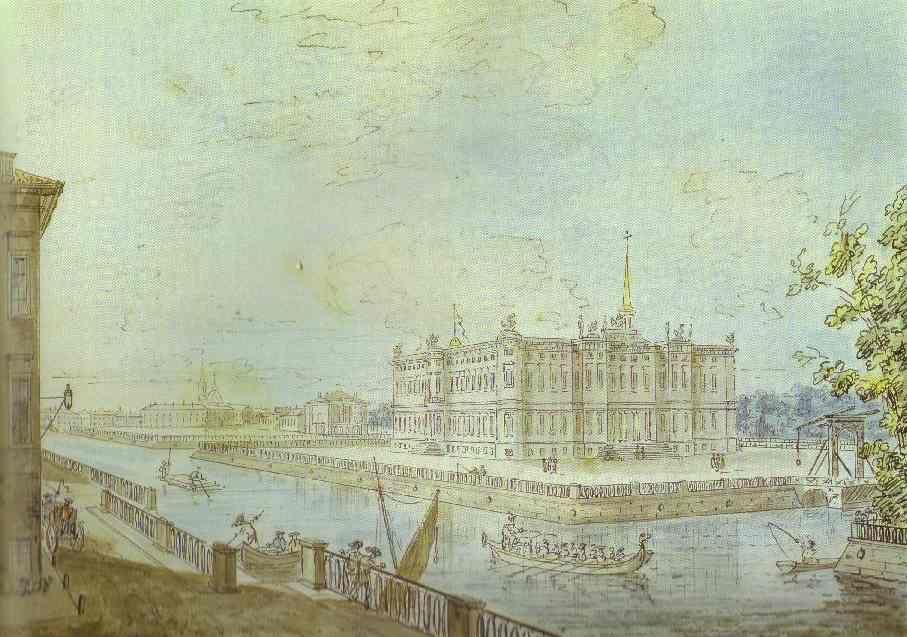Fedor Alekseev. View of the Mikhailovsky Castle in St. Petersburg.