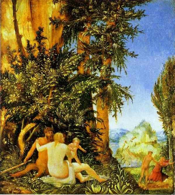 Albrecht Altdorfer. Landscape with Satyr Family.
