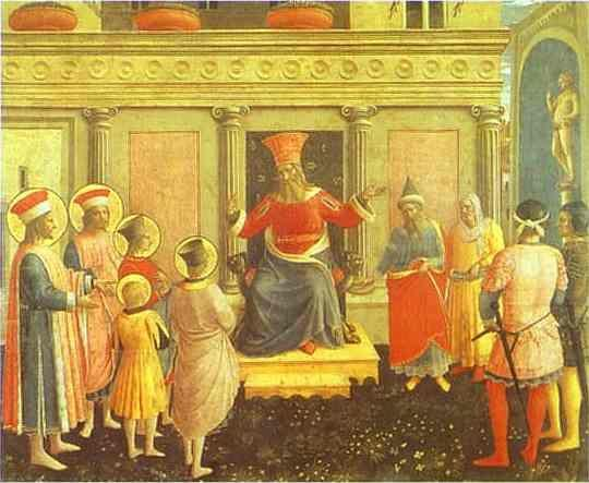 Fra Angelico. San Marco Altarpiece: Cosmas and Damian before Lycias.
