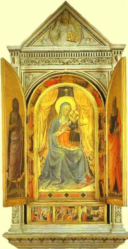 Fra Angelico. Linaiuoli Tabernacle: Virgin and Child Making the Blessing (wings open).