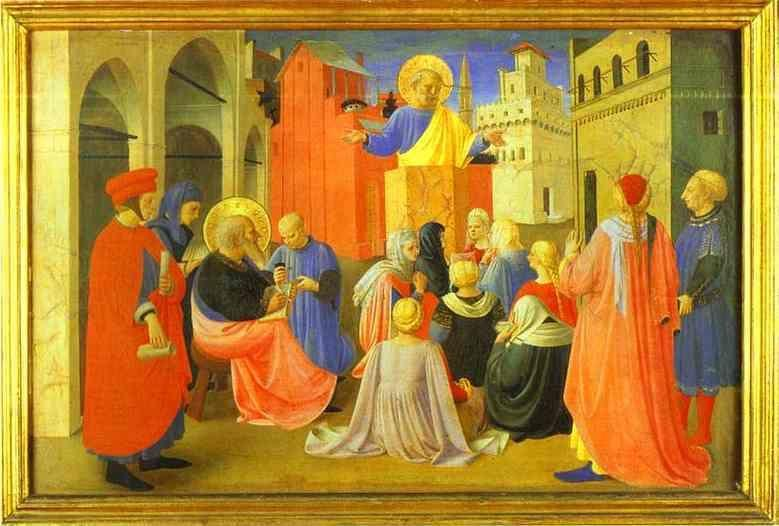 Fra Angelico. Linaiuoli Tabernacle, predella: Peter Preaching with Mark.