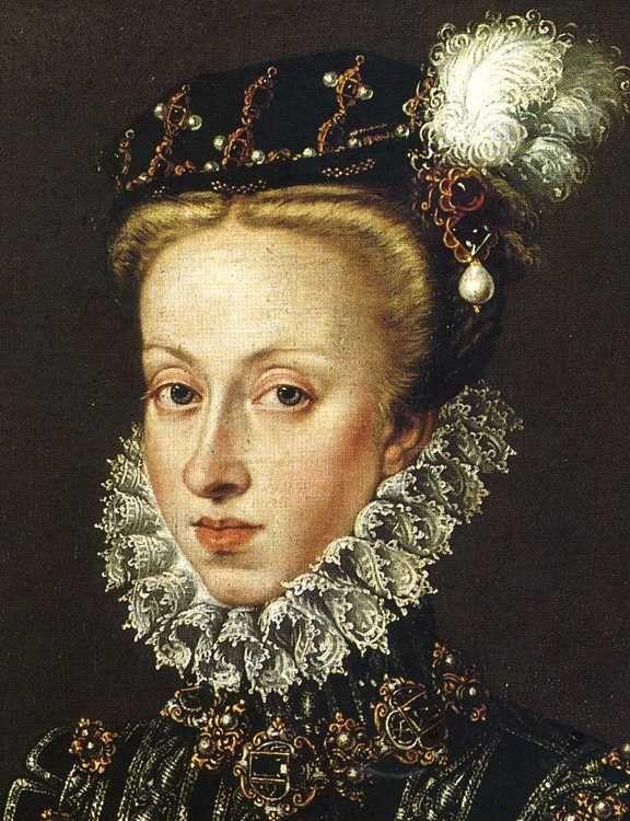 Sofonisba Anguissola. Portrait of Queen Anne of Austria. Detail.