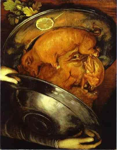 Giuseppe Arcimboldo. The Cook - a visual pun which can be turned upside down.