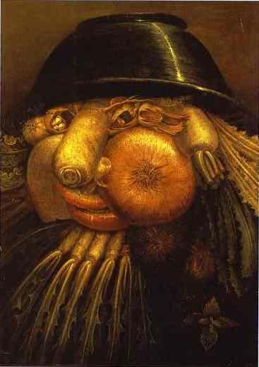 Giuseppe Arcimboldo. The Vegetable Gardener - a visual pun which can be turned upside down.