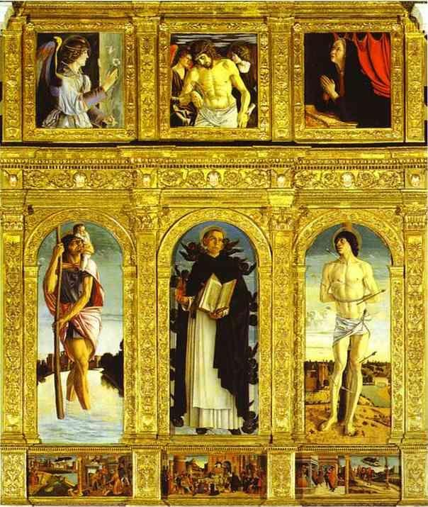 Giovanni Bellini. St. Vincent Ferrar Polyptych, with St. Christopher, St. Vincent Ferrar, and St. Sebastian.