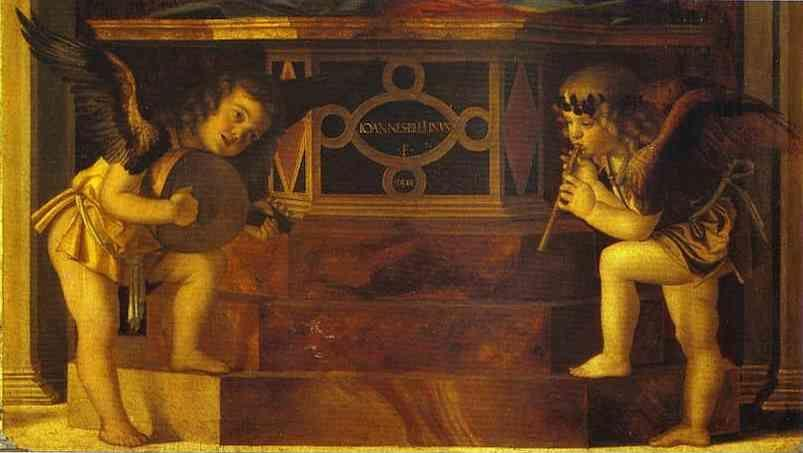 Giovanni Bellini. Frari Triptych. Musical Angels. Detail.