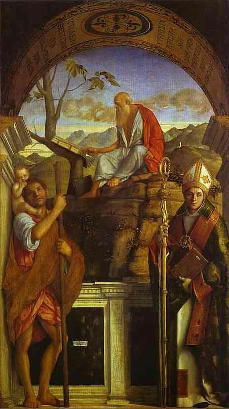 Giovanni Bellini. St. Christopher, St. Jerome, and St. Louis.