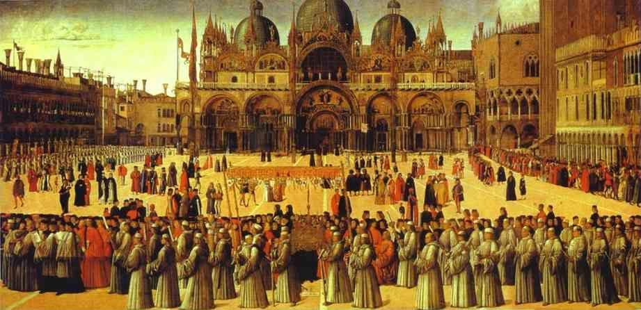 Gentile Bellini. Procession in St. Mark's Square.