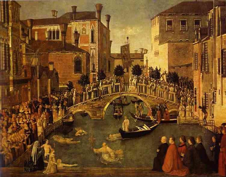 Gentile Bellini. The Recovery of the Relic of the True Cross at the Bridge of S. Lorenzo.