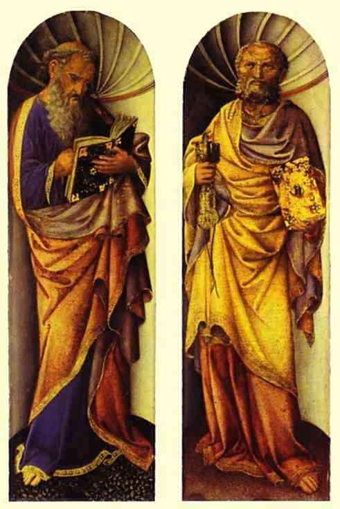 Jacopo Bellini. St. John the Evangelist (left); The Apostle Peter (right).