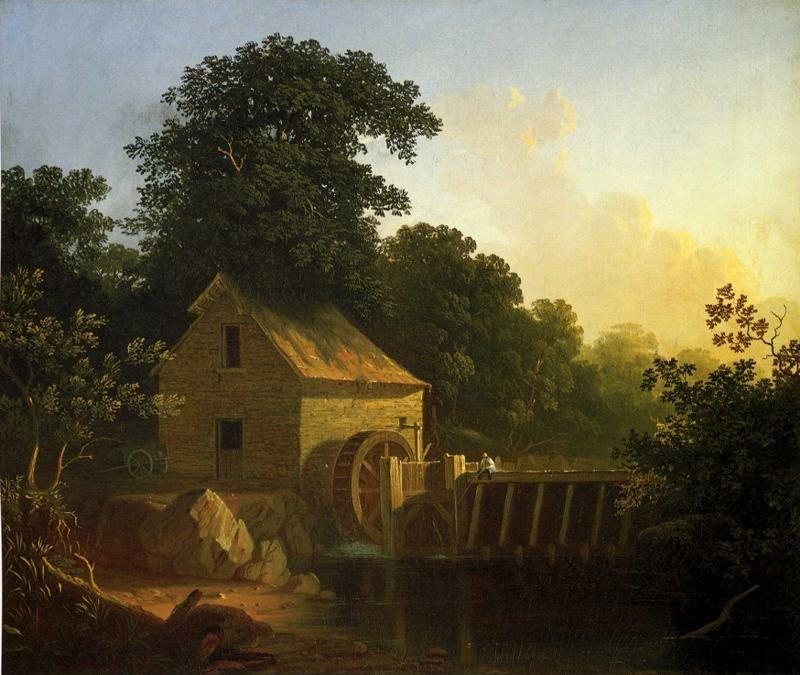 George Caleb Bingham. Landscape with Waterwheel and Boy Fishing.