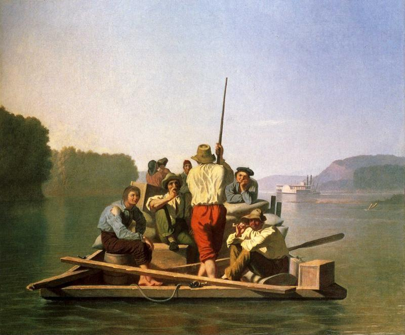 George Caleb Bingham. Lighter Relieving the Steamboat Aground.