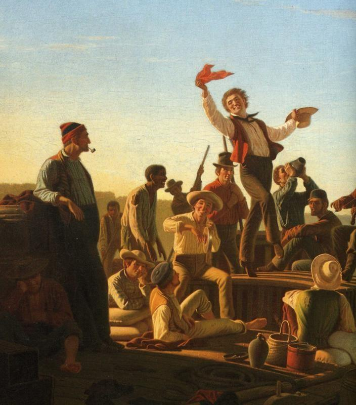 George Caleb Bingham. Jolly Flatboatmen in Port. Detail.