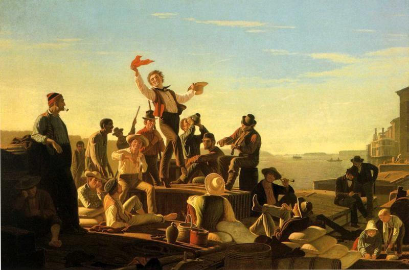 George Caleb Bingham. Jolly Flatboatmen in Port.
