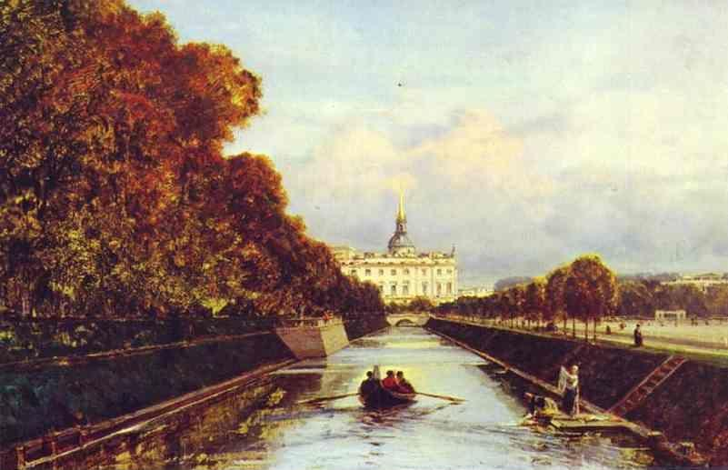 Alexey Bogoliubov. View of the St. Michael Palace in St. Petersburg from the Swan Canal.