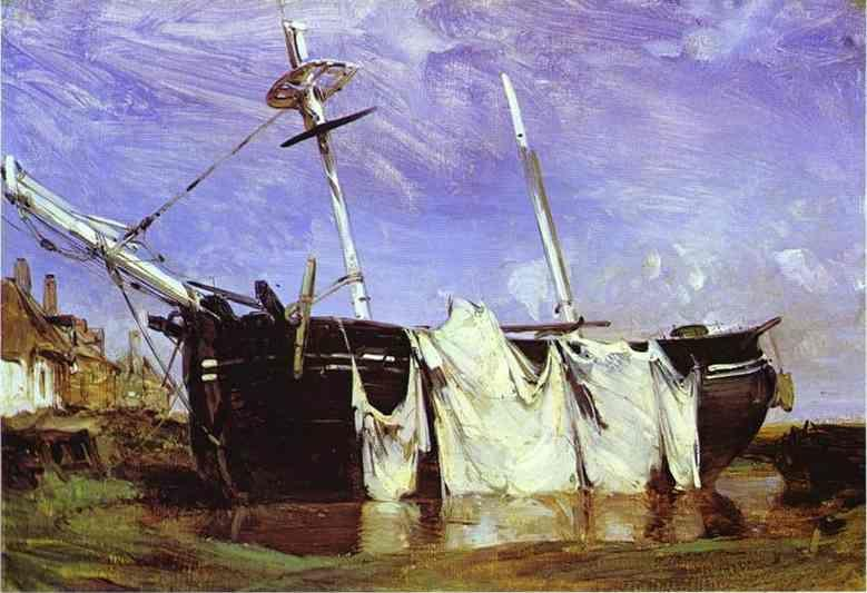 Richard Parkes Bonington. A Boat Beached in a Port at Low Tide.