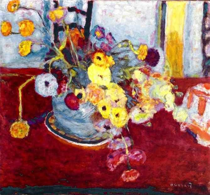 Pierre Bonnard. Flowers on a Red Carpet.