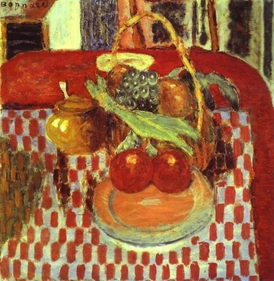 Pierre Bonnard. Basket and Plate of Fruit on a Red-Checkered Tablecloth.