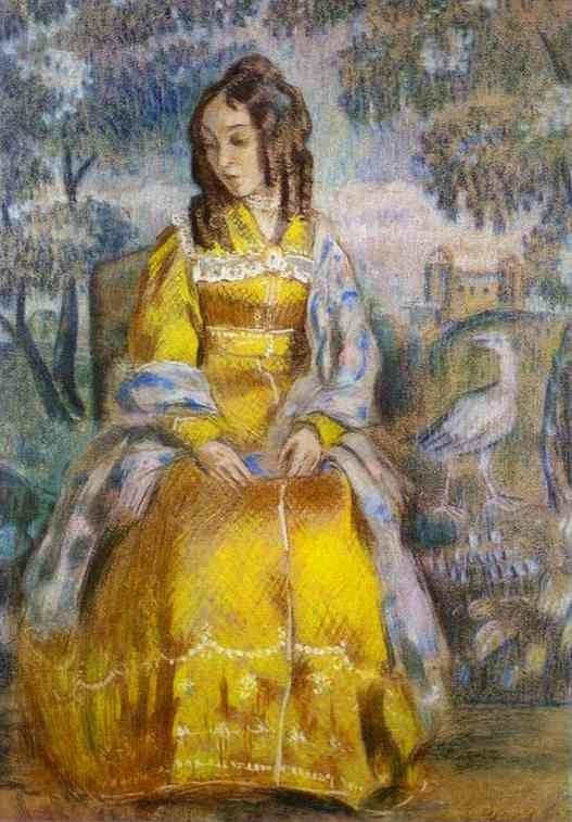 Victor Borisov-Musatov. Lady Seated, with a Tapestry in the Background.