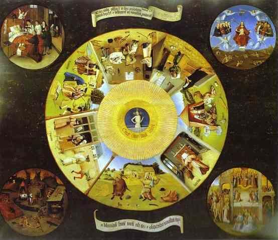 Hieronymus Bosch. Tabletop of the Seven Deadly Sins and the Four Last Things.