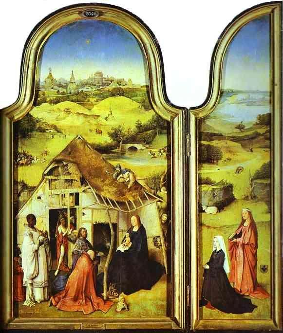Hieronymus Bosch. Epiphany Triptych. Left wing: The Donor with St. Peter and St. Joseph. More. Central panel: The Virgin and Child and the Three Magi. More. Right wing: The Donor with St. Agnes. More.