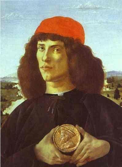 Alessandro Botticelli. Portrait of a Man with the Medal of Cosmo the Elder.