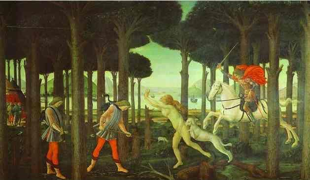 Alessandro Botticelli. The Story of Nastagio degli Onesti: The Encounter with the Damned in the Pine Forest.