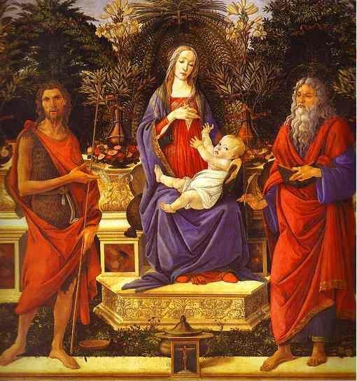 Alessandro Botticelli. Virgin and Child Enthroned between Saint John the Baptist and Saint John the Evangelist (Bardi altarpiece).