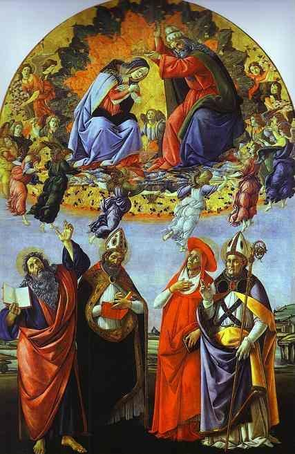 Alessandro Botticelli. Coronation of the Virgin with the Saints John the Evangelist, Augustine, Jerome and Eligius. (San Marco altarpiece).
