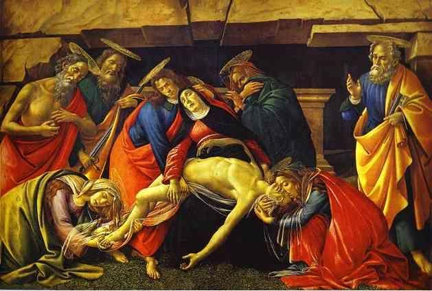 Alessandro Botticelli. Lamentation over the Dead Christ with the Saints Jerome, Paul and Peter.