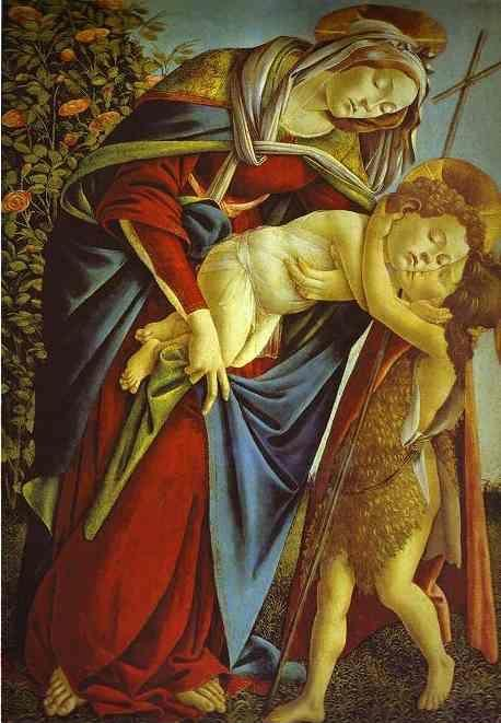 Alessandro Botticelli. Madonna and Child and the young St. John the Baptist.
