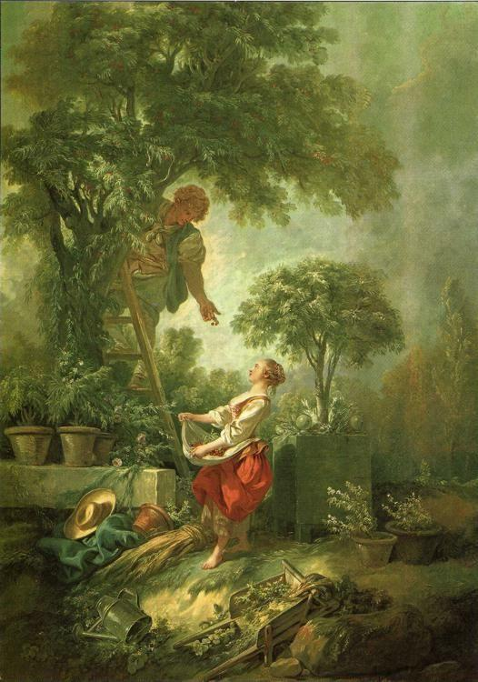 François Boucher. Landscape with Figures Gathering Cherries.