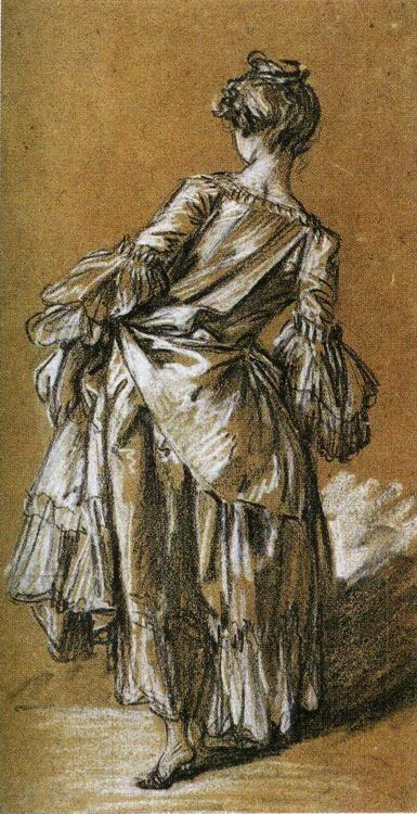 François Boucher. Study of a Young Woman Seen from Behind.