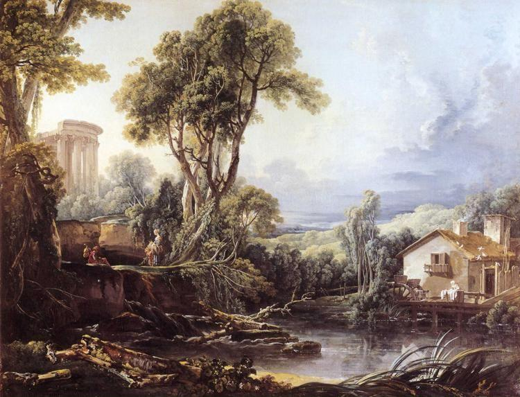 François Boucher. Landscape with a Temple and a Watermill.