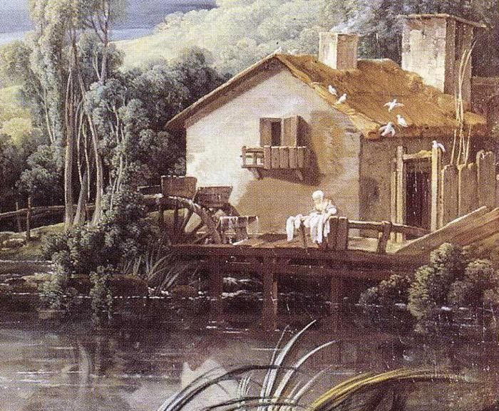 François Boucher. Landscape with a Temple and a Watermill. Detail.