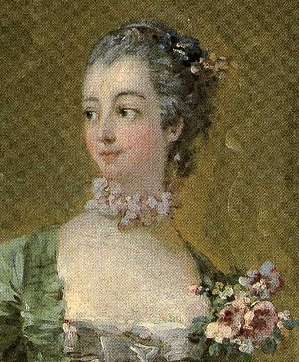 François Boucher. Madame de Pompadour Standing at her Dressing Table. Detail.