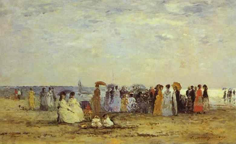 Eugène-Louis Boudin. Bathers on the Beach at Trouville.