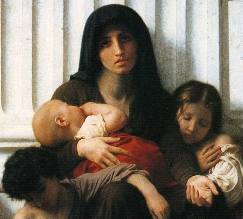William-Adolphe Bouguereau. Indigent Family (Charity). Detail.