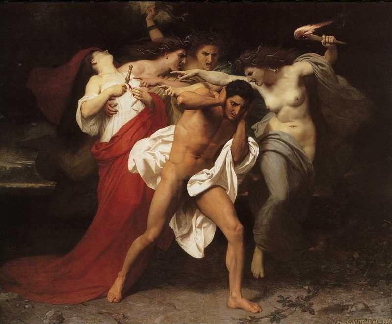 William-Adolphe Bouguereau. Orestes Pursued by the Furies.