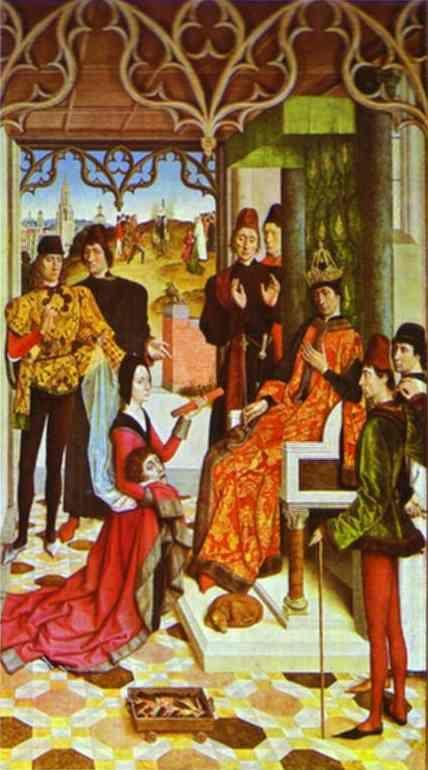 Dieric Bouts the Elder. The Empress's Ordeal by Fire in front of Emperor Otto III.