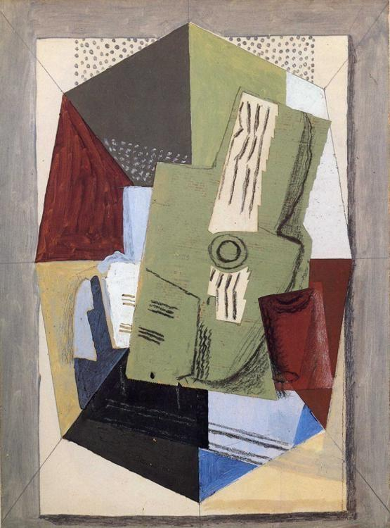 Georges Braque. Guitar and Sheet-Music on Table.