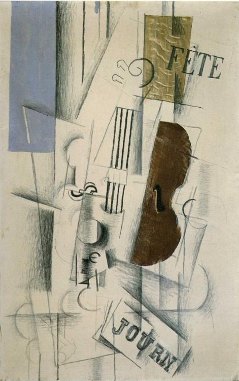 Georges Braque. Violin and Newspaper (Musical Forms).