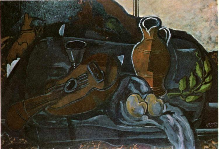 Georges Braque. Mandolin, Glass, Pot and Fruit.