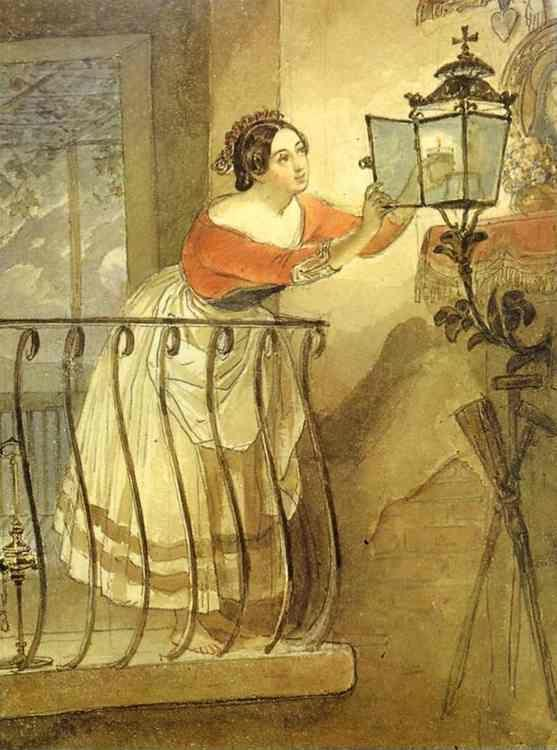 Karl Brulloff. Italian Woman Lightning a Lamp Before the Image of Madonna.