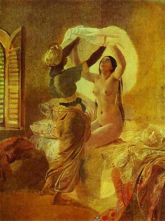 "Karl Brulloff. In a Harem. ""By Allah's Order Underwear Should Be Changed Once a Year""."